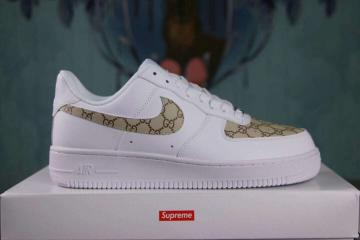 online store 6418b 9a227 Nike Air Force 1 Low Lifestyle Shoes White Gold Custom Sup