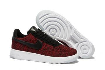 f7a4e3090c0b3 Nike Men Air Force 1 Low Ultra Flyknit Wine Red Black LifeStyle Shoes 817419