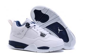 promo code 88127 1e1ce Nike Air Jordan 4 Retro BG Legend Blue Youth Kid Shoes 408452 107