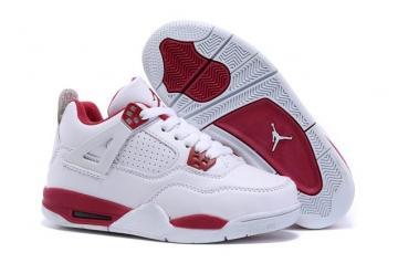 ffb0257ef5f Nike Air Jordan 4 Retro Basketball White Black Gym Red Baby Kid Shoes  408452 106
