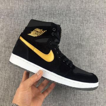 51748348e98 Nike Air Jordan 1 Retro Velvet Black Gold Unisex Shoes 832596