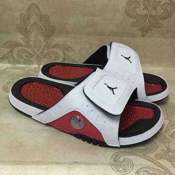 88dd0773d63 Nike AIR JORDAN HYDRO XIII 13 RETRO white black gym red men sports slippers  684915-101