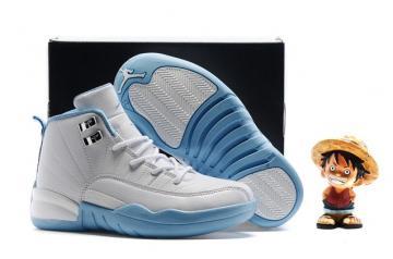 new styles c0307 e9fad Nike Air Jordan Retro 12 White University Blue Melo Girls Kids 510816 127