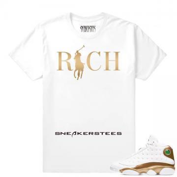 2d692a244b7 Match Air Jordan 13 DMP Country Club Rich White T shirt