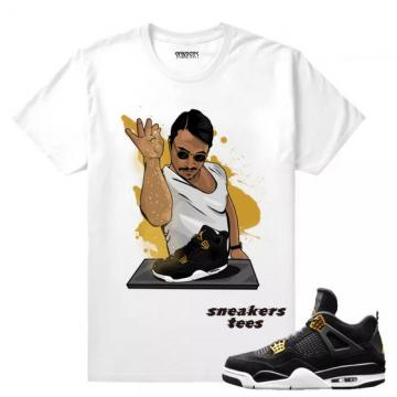 9a0e37b93ca Match Jordan 4 Royalty Salt Bae 4s White T-shirt
