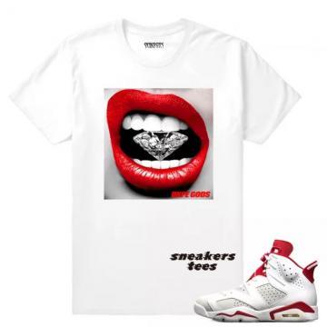 7cdd86dc28b Match Jordan 6 Alternate Diamond Lips White T-shirt