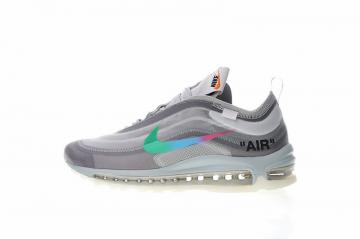41a40f7f53 Off White x Nike Air Max 97 Wolf Grey White Menta Rainbow AJ4585-012