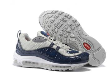 3b672a16b8 Nike Air Max 98 Supreme Men Shoes Obsidian Reflective Silver White  844694-400