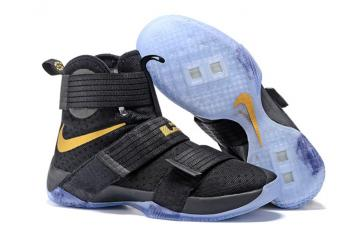 huge discount 367a7 00914 Nike Lebron Soldier 10 EP Basketball Shoes 2016 Finals Black Gold 844375-806