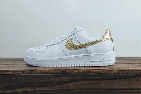Nike Air Force 1 07 Cr7 Golden Patchwork White Gold Metallic AQ0666 100