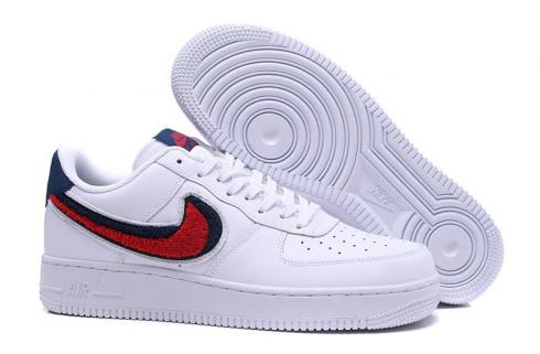 website for discount thoughts on shades of Nike Air Force 1 07 Lv8 Chenille Swoosh Blue White Void University ...