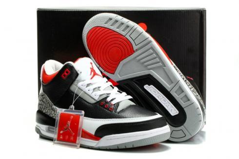 Nike Air Jordan III Retro 3 Men Women Shoes Black White Red 136064