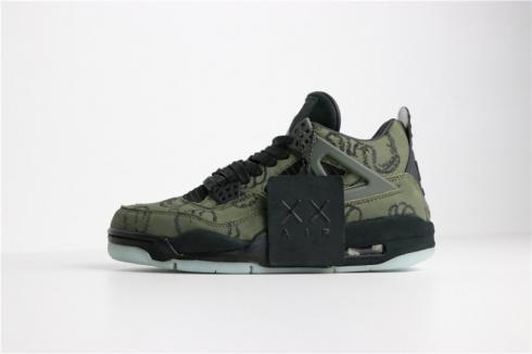 KAWS X Nike Air Jordan 4 Retro Black Army Green 756395
