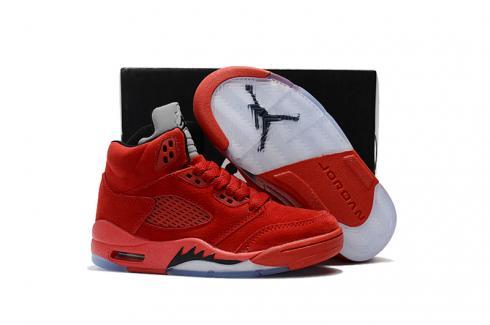 Nike Air Jordan V 5 Retro Kid Children Basketball Shoes Red All White