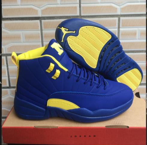 Nike Air Jordan XII 12 Retro Men Basketball Shoes Royal Blue Yellow