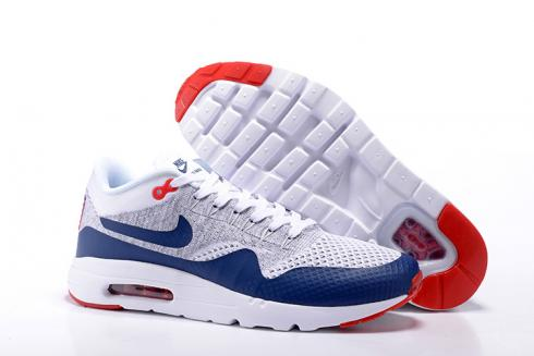 Nike Air Max 1 Ultra Flyknit Men Running Shoes Navy Blue Grey Red White 843384-009