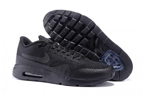 quality design ebb27 23330 Nike Air Max 1 Ultra Flyknit Triple Black Men Women Running Shoes Sneakers  856958-001