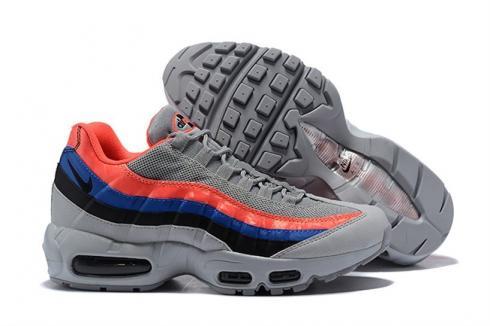 Nike Air Max 95 Essential Men Running Grey Blue Red 749766 035