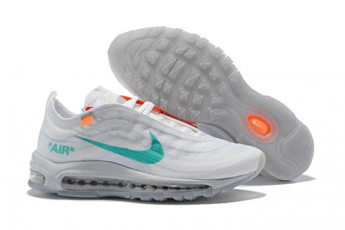 Off White Nike Air Max 97 Running Shoes Light Grey Blue