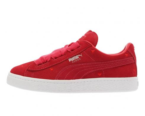 PUMA Suede Heart Valentine White Red Little Kids Casual Shoes 365136 01