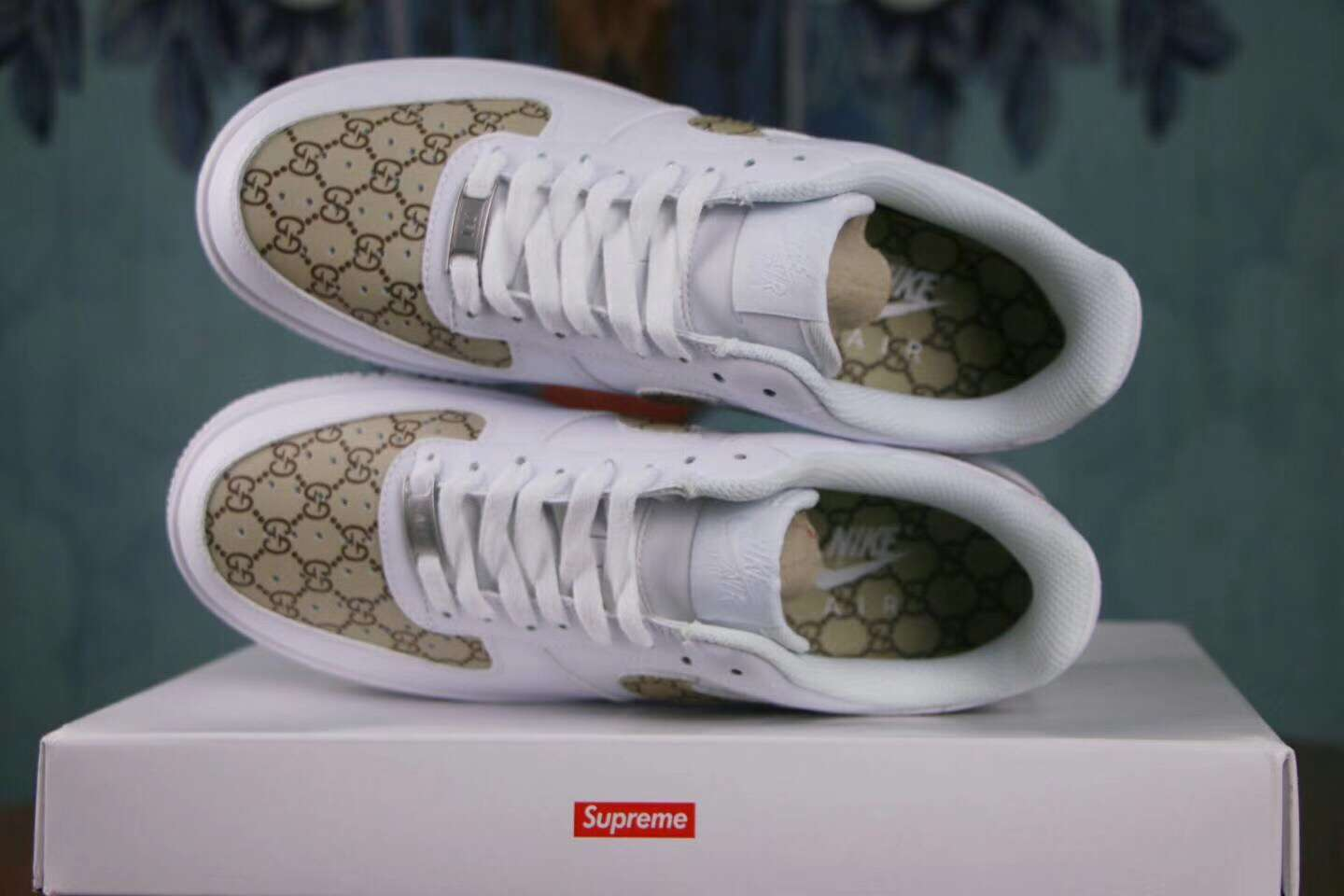 Nike Air Force 1 Low Lifestyle Shoes White Gold Custom Sup
