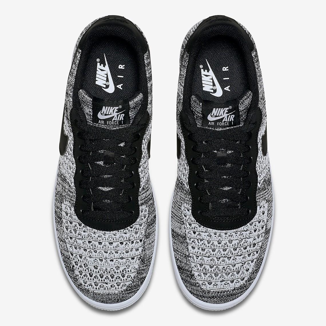 Nike Air Force 1 Flyknit 2.0 Black Pure Platinum White AV3042 001
