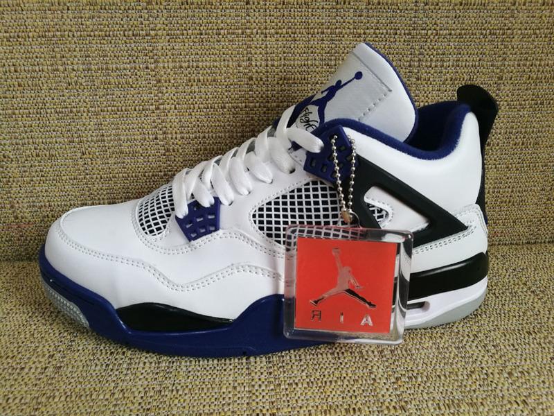 pretty nice 5475c 8c03c ... 4 Retro IV AJ4 Motorsports White Game Royal Blue Men Shoes 308497-. Zoom