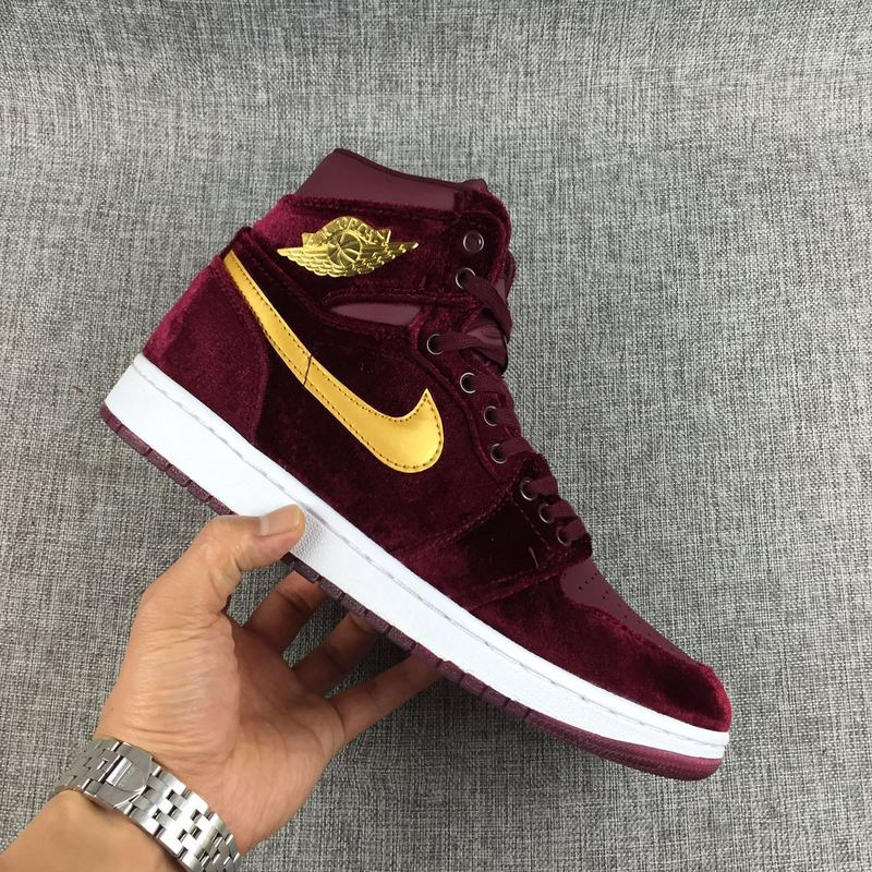 8df1f7087c5 Nike Air Jordan 1 Retro Heiress Velvet Maroon Gold 832596-640 - Sepsale