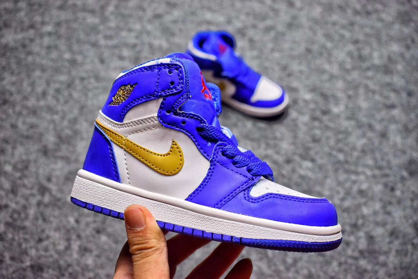 newest 038db 46127 Prev Nike Air Jordan I 1 Retro Kid Shoes Blue White Gold 575441. Zoom. Move  your mouse over image or click to enlarge. Next. CLICK IMAGE TO ENLARGE