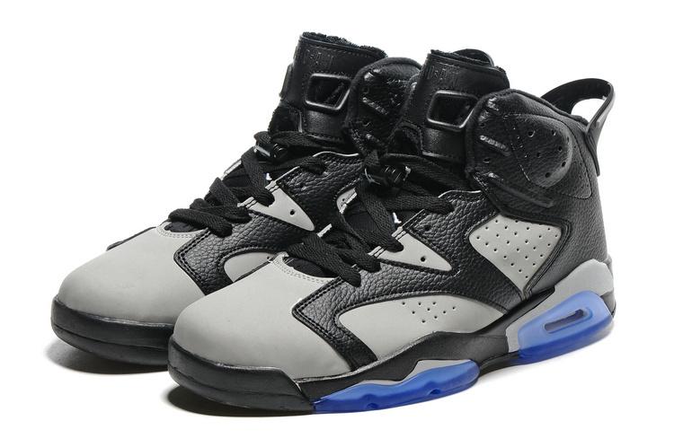 quite nice af57b 87dca Nike Air Jordan 6 VI Retro Black Cool Grey Men Shoes 384664-010