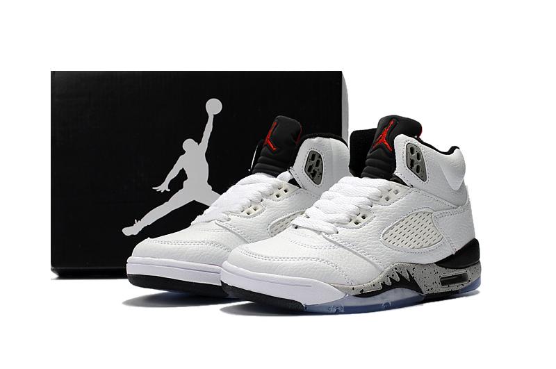 los angeles 43985 d0455 Nike Air Jordan V 5 Retro Kid Children Basketball Shoes All White Black New