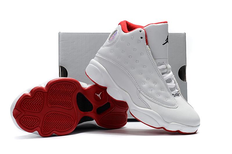 77c631f06cfaf Nike Air Jordan XIII 13 Retro Kid white red basketball Shoes 414571-103