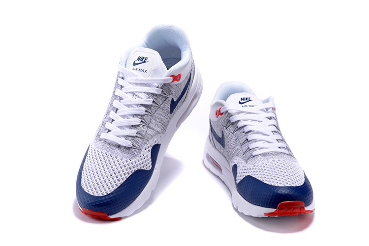Nike Air Max 1 Ultra Flyknit Men Running Shoes Navy Blue Grey Red White 843384 009