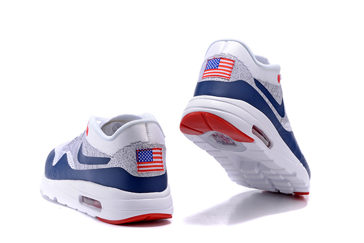 timeless design df0f5 f4a24 ... Nike Air Max 1 Ultra Flyknit Men Running Shoes Navy Blue Grey Red White  843384-