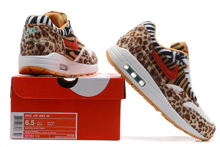 Nike Air Max 87 Colorful Leopard Yellow Black White Orange Blue Women Running Shoes 537384 114