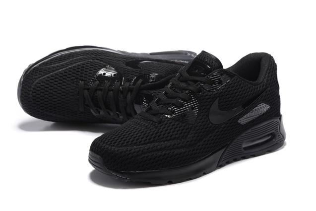 66eaf4c786 Nike Air Max 90 Ultra BR Breeze Triple Black Mens Women Running ...