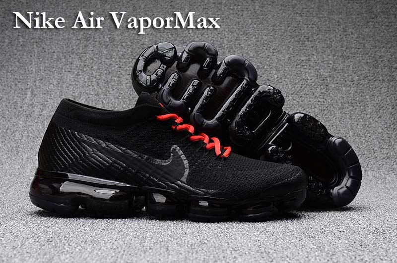 918b487691 Prev Nike Air VaporMax Men Women Running Shoes Sneakers Trainers Pure Black  Red Lace 849560. Zoom