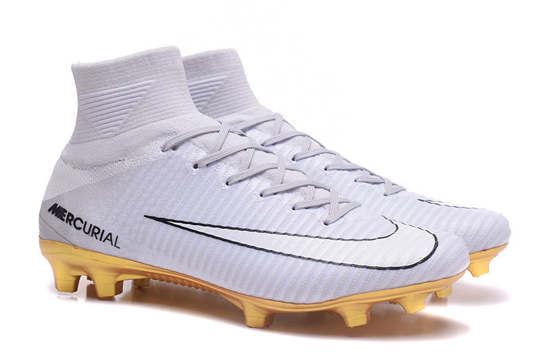 FG high shoes rivet gold white Football CR7 Nike Mercurial Superfly IvY7b6gfy