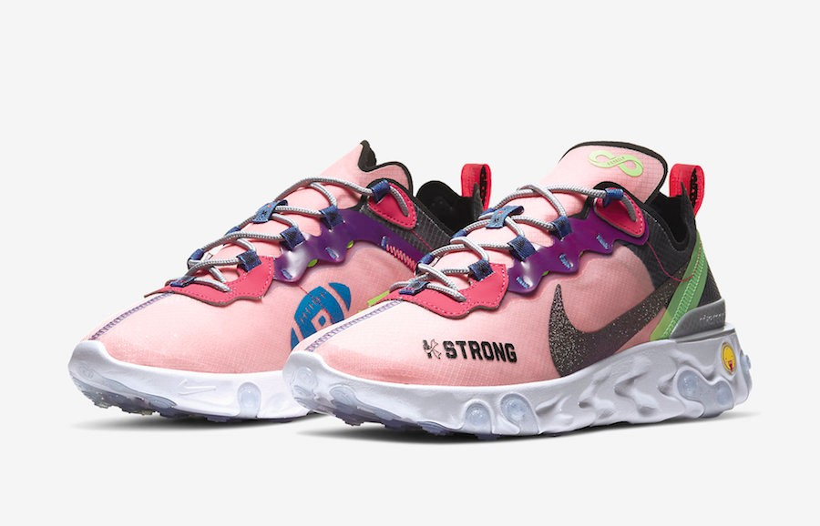 Nike React Element 55 Doernbecher Sunblush Red Bright Grape CV2592 600
