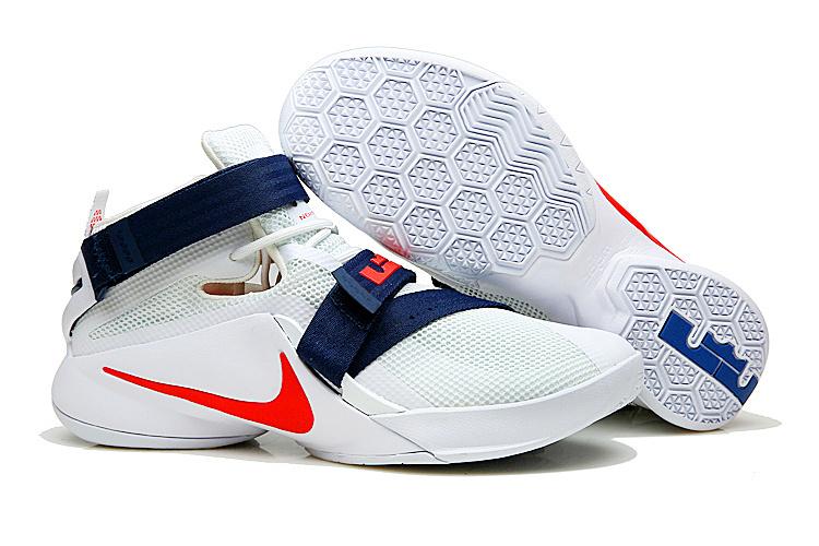 buy popular 5295e 0e63a Nike Zoom Soldier 9 IX White Red Blue USA Teams Men Basketball ...