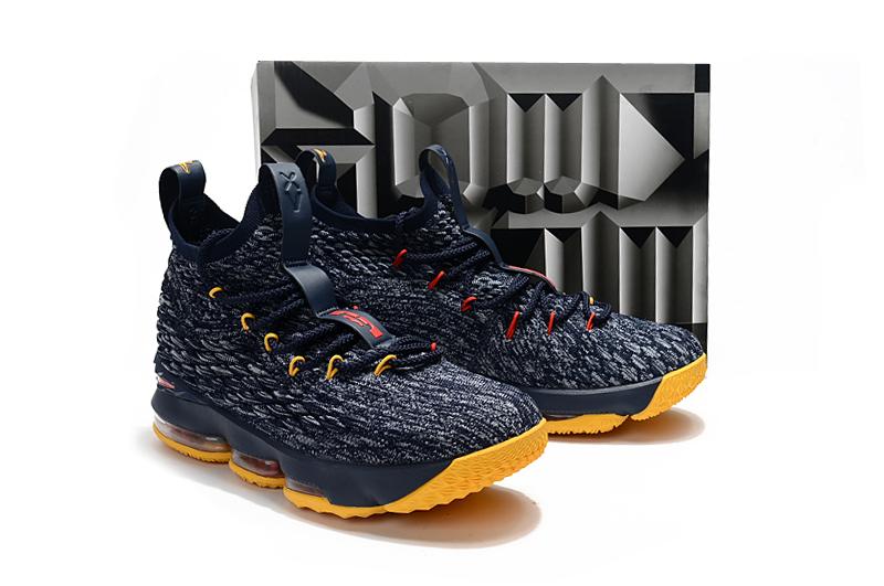 online store 777ca 34dce Nike Zoom Lebron XV 15 Women Basketball Shoes Deep Blue Yellow