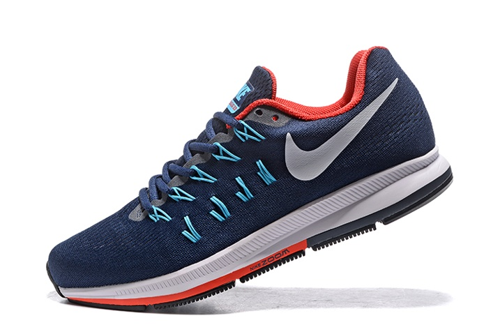 finest selection d3854 54dde Nike Air Zoom Pegasus 33 Men Running Shoes Dark Blue Red White 831352 ...
