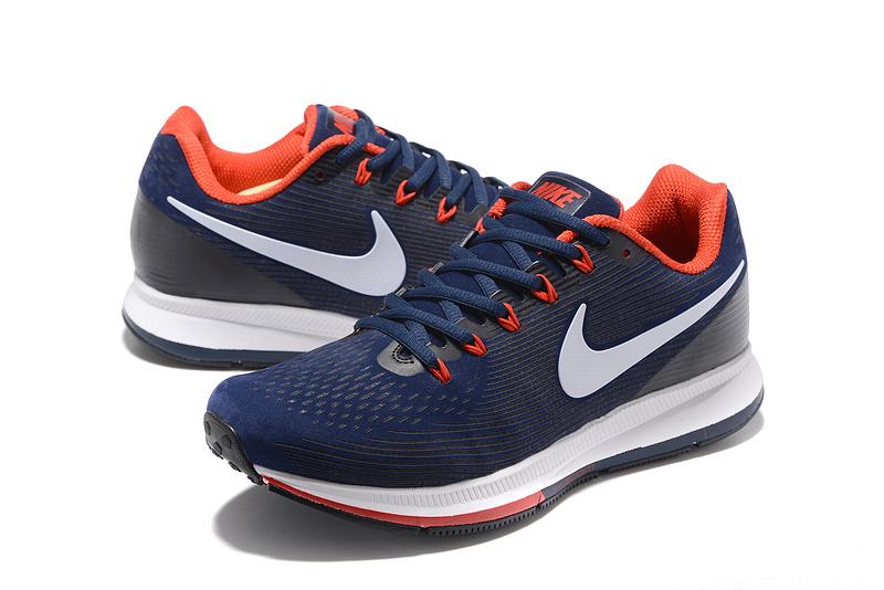 Nike Air Zoom Pegasus 34 Leather Navy Blue Black Red Men Running Shoes Sneakers 831351 002