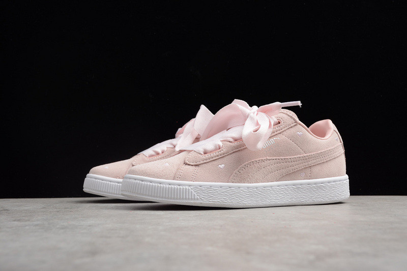 Puma Suede Heart Valentine Jr Peal White Pink Sneakers Kids Shoes 365135 03